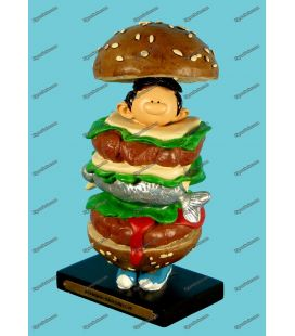 Figurine resin GASTON LAGAFFE man sandwich