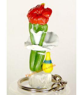porte clés ORANGINA figurine MARYLINE pin'up fleur pub