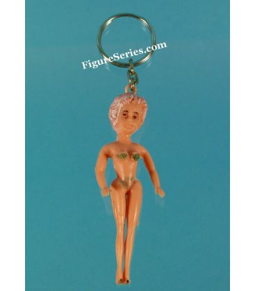 Porte clés PIN UP des années 50 figurine femme brune en maillot de bain