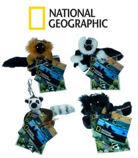 Lot 4 porte-clés NATIONAL GEOGRAPHIC peluche lemurien